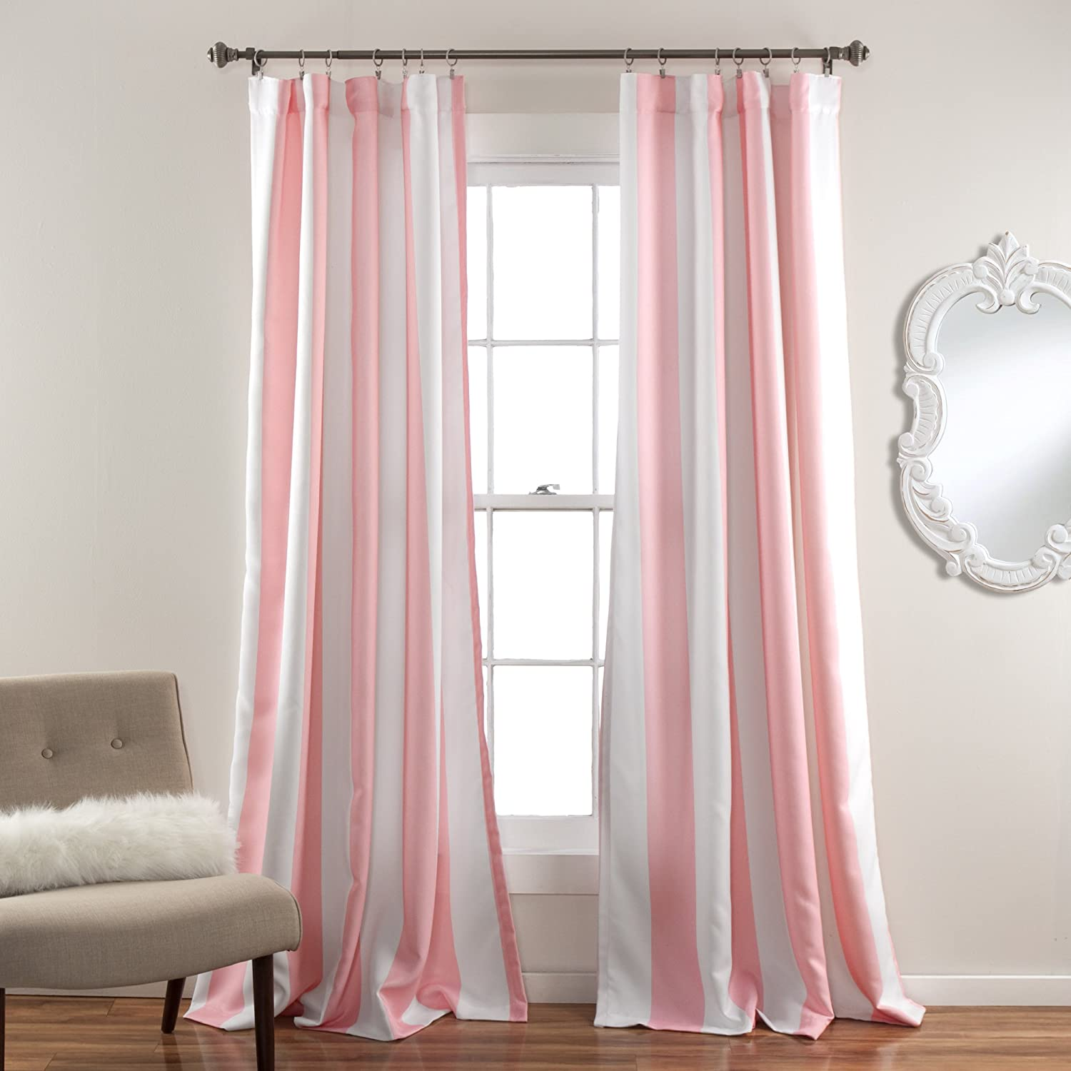 Pink And White Striped Curtains Curtain Menzilperde Net