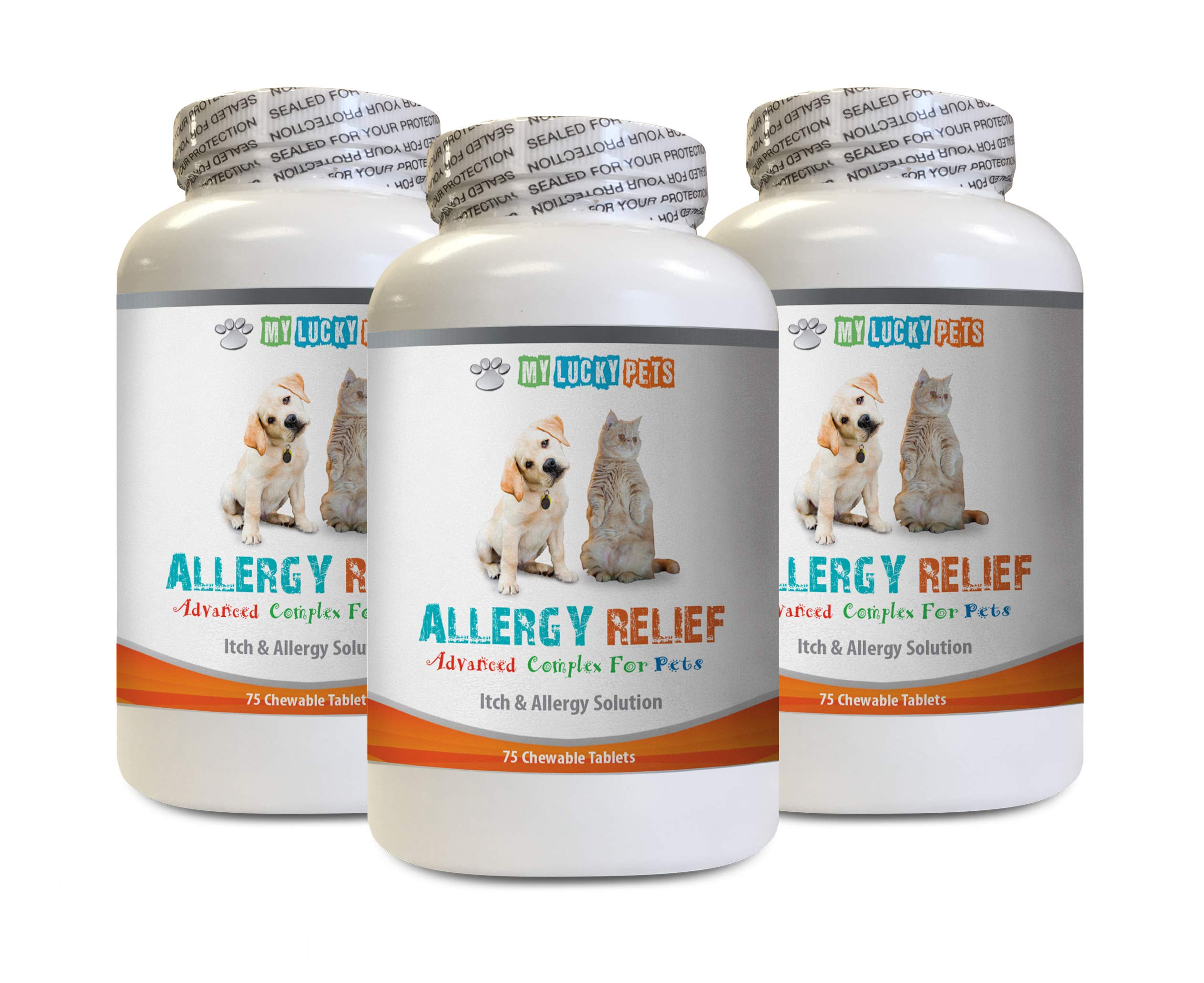 Dog Itchy Skin Relief - PET Allergy Relief - for Dogs and Cats - Lucky Itch Solution - Keep Fur Healthy - Burdock for Dogs - 3 Bottles (225 Chewable Tablets) by MY LUCKY PETS LLC
