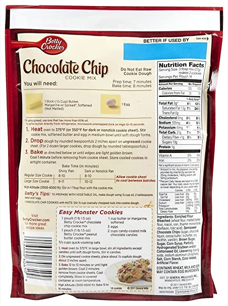 Betty Crocker Cake Mix Chocolate Chip Cookie Recipe