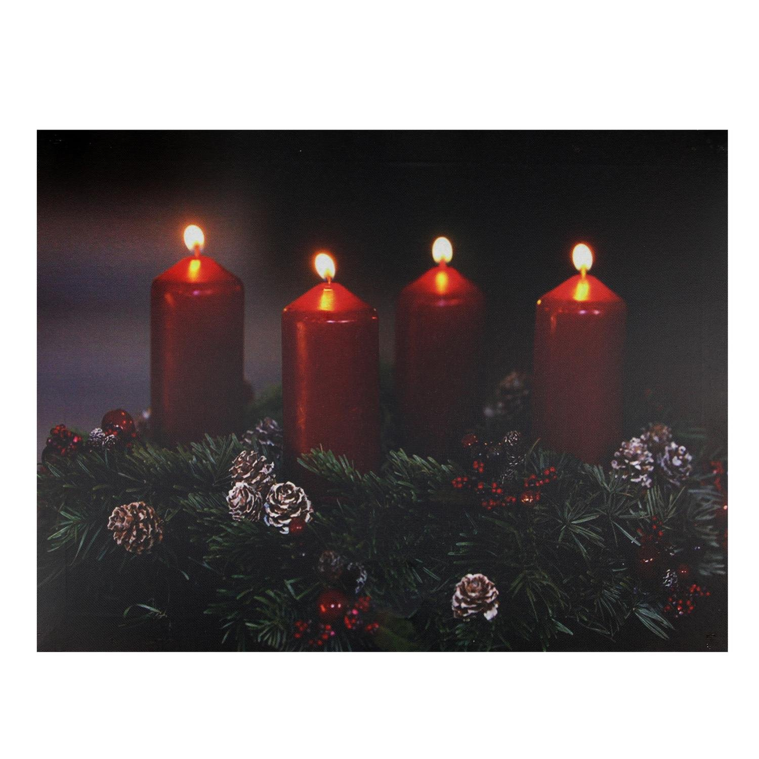 Northlight LED Lighted Flickering Candle Wreath Christmas Canvas Wall Art 12'' x 15.75'' Signs and Plaques, Green