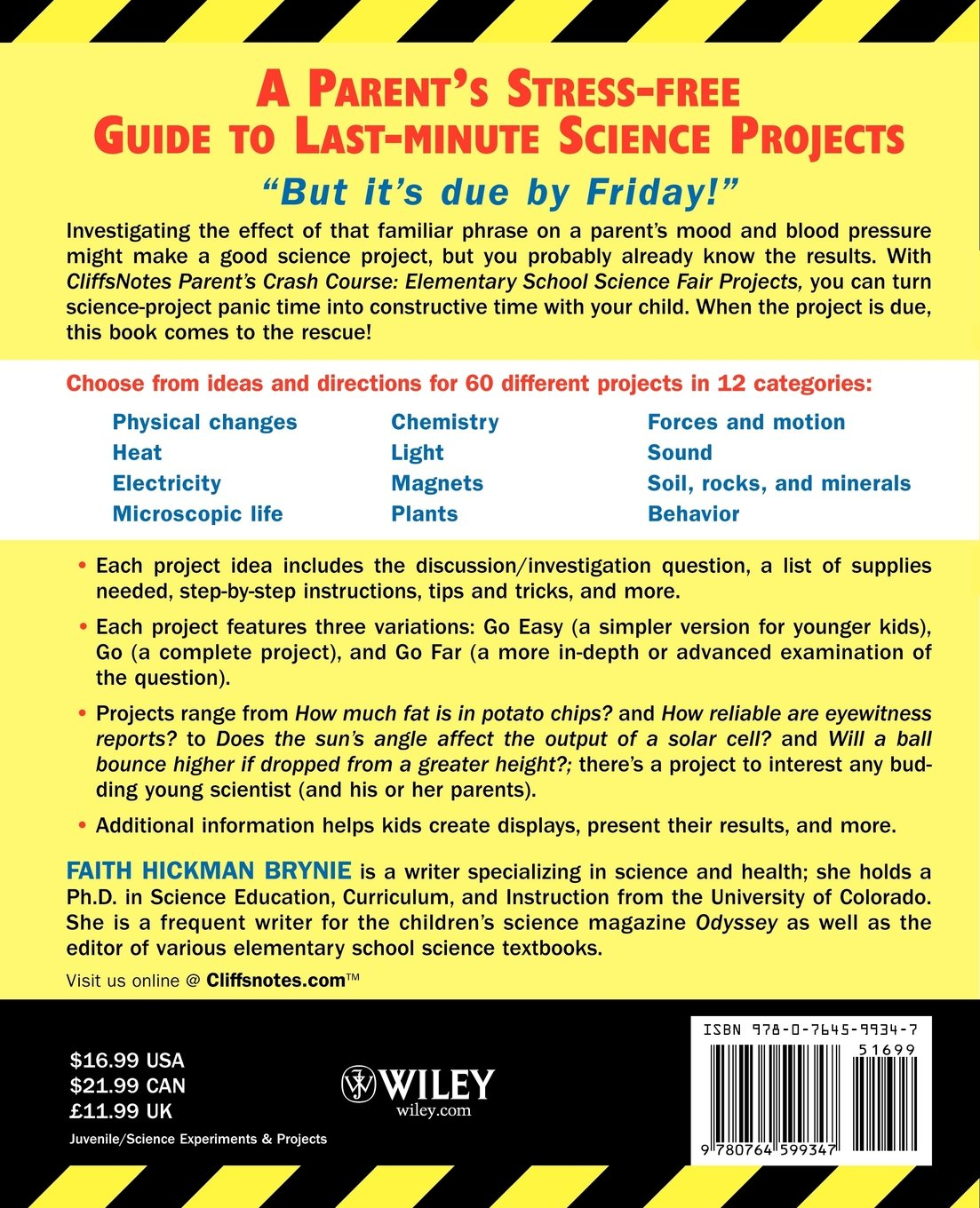 cliffsnotes parent s crash course elementary school science fair cliffsnotes parent s crash course elementary school science fair projects cliffsnotes literature guides faith brynie 9780764599347 com books