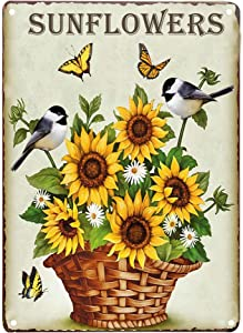 TISOSO Sunflowers Butterfly and Birds Retro Vintage Tin Sign Country Home Wall Decor Signs Gifts Decoration 8X12Inch