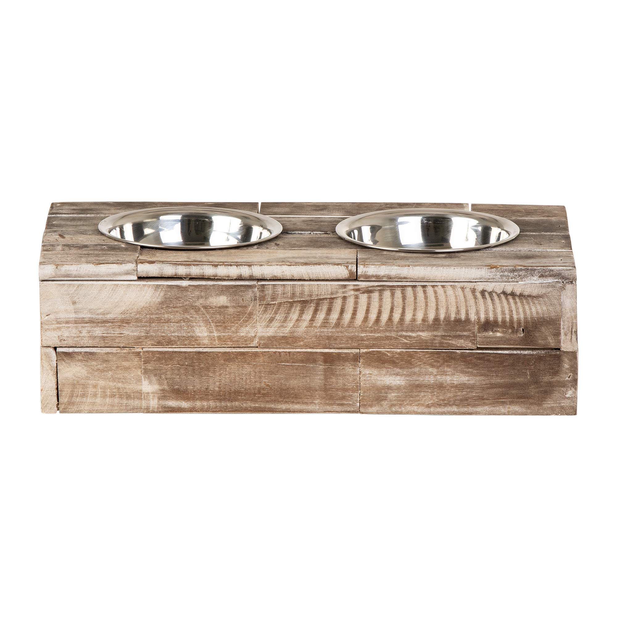 Huntley Pet Elevated Dog & Cat Double Bowl Feeder Stainless Steel Bowls (Berjen, Small) by Huntley Equestrian