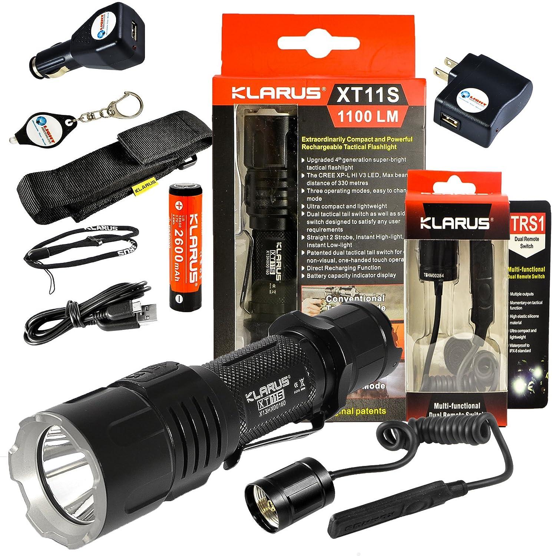 *NEW 2016* Klarus XT11S CREE XP-L HI V3 LED Tactical Flashlight Black 1100 Lumens w/ TRS1 Pressure switch, Lightjunction USB Wall + USB Car Plug + Keychain Light