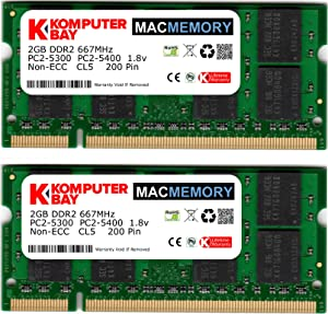 Komputerbay MACMEMORY Apple 4GB Kit (2X 2GB Modules) PC2-5300 667MHz DDR2 SODIMM iMac and MacBook Memory