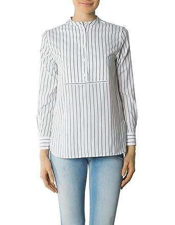 GANT Damen Bluse Baum Wolle Blusenshirt Gestreift, Größe  36, Farbe  Weiß c52b04f92e