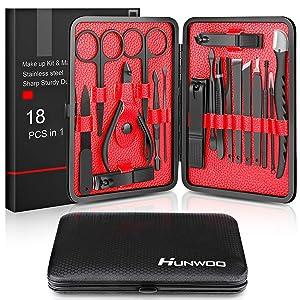 Updated 2019 Version Manicure Set-Hunwoo Nail Clippers Set 18 in 1 Grooming Kit Stainless Steel Professional Pedicure Set,Nail Scissors,Nail File,Ear Pick,Tweezers,Nose Hair Scissors,Eyebrow Razor