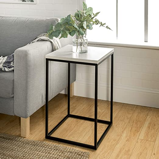 Amazon Com Walker Edison Modern Open Square Wood Side Accent Living Room Small End Table 16 Inch Marble Furniture Decor
