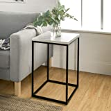 Walker Edison Modern Open Square Wood Side Accent Living Room Small End Table, 16 Inch, Marble