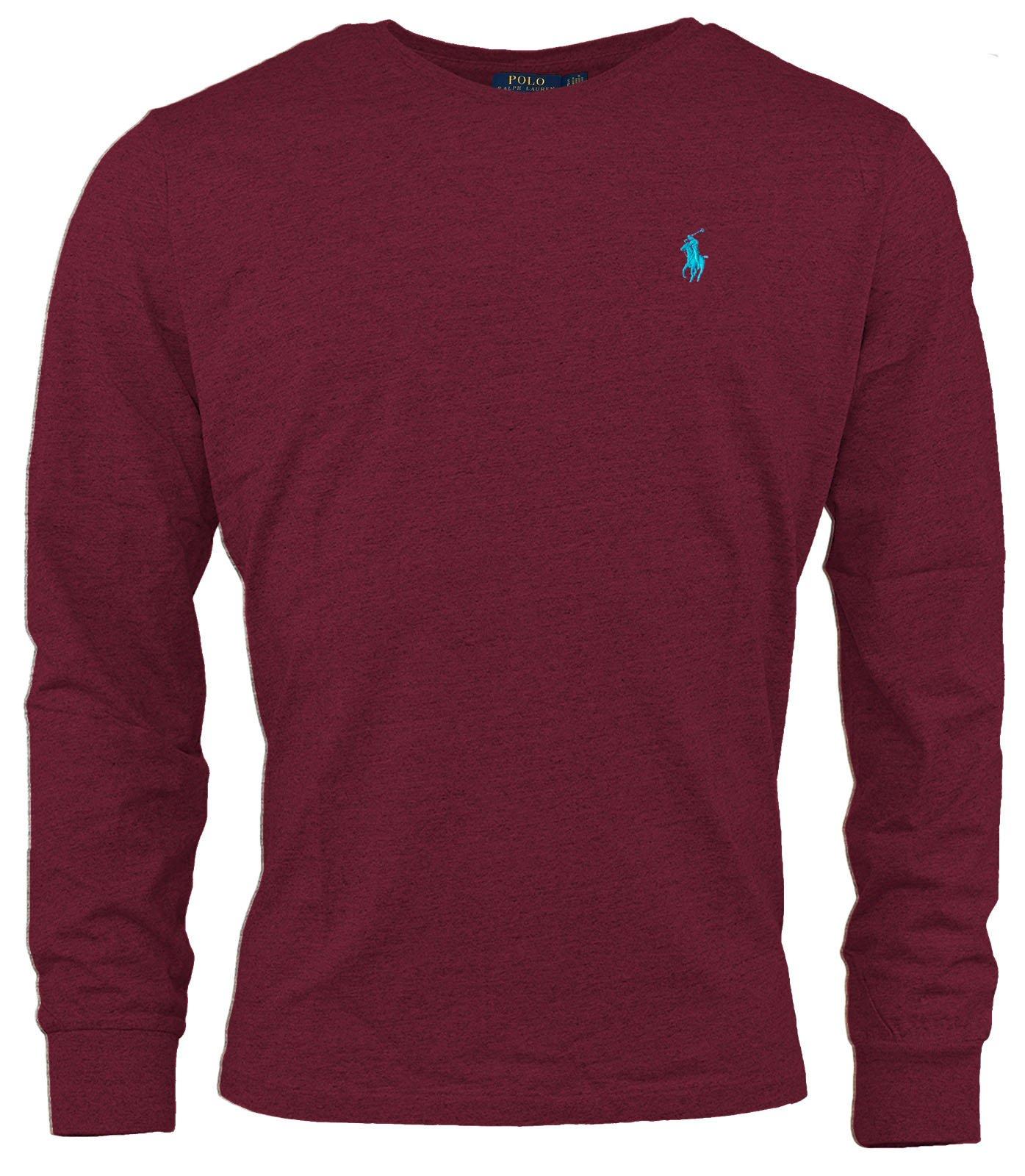 Polo Ralph Lauren Men Long Sleeve Pony Logo T-Shirt (Large, Red Wine)