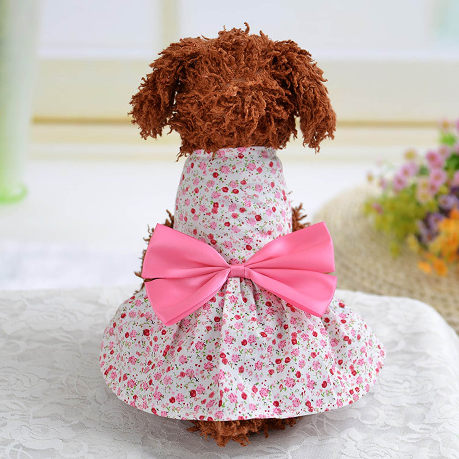 Elisona-Sweet Flower Style Pet Dog Skirt Dress Clothes Costume Apparel with Large Bowknot Ornament for Daily Party Wedding Holiday Pink Size XS