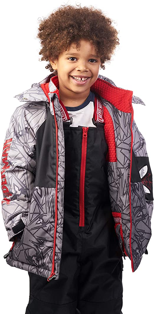 Marvel Spider-Man Hooded 2-Piece Ski Suit Coat and Snow Pants for Boys Grey