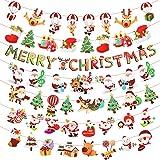 クリスマスガーランド KAKOO 7種類セット クリスマス 飾り ガーランド 飾り付け インテリア 装飾 デコレーション パーティー 店舗 ショップ 壁 家 トナカイ・サンタ・クリスマスツリー・靴下