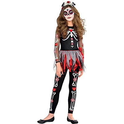 amscan Girls Scared to The Bone Costume - Medium (8-10), Multicolor: Toys & Games