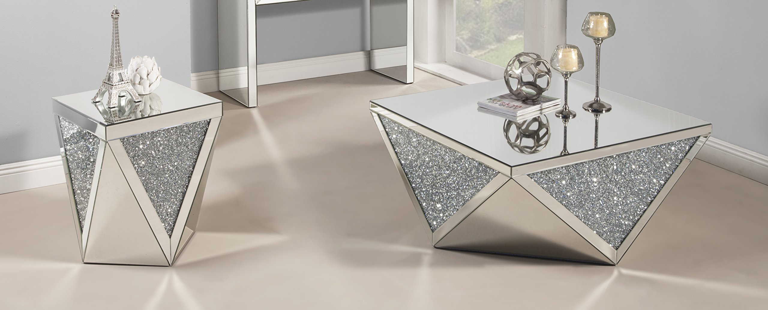 Best Quality Furniture CT50-51 Crystal Coffee Table Set by Best Quality