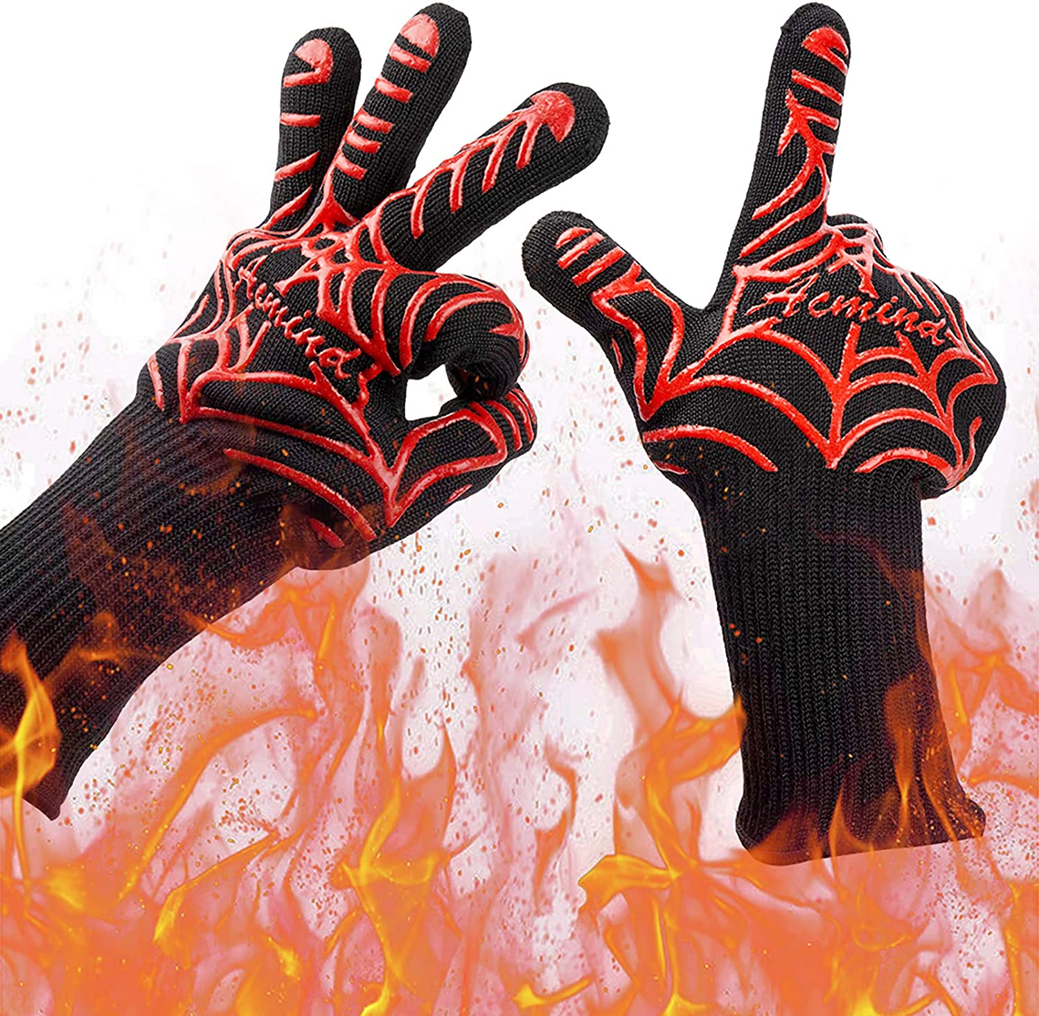 1472°F Silicone Extreme Heat Resistant Cooking BBQ Oven Mitt Hot Grilling Gloves