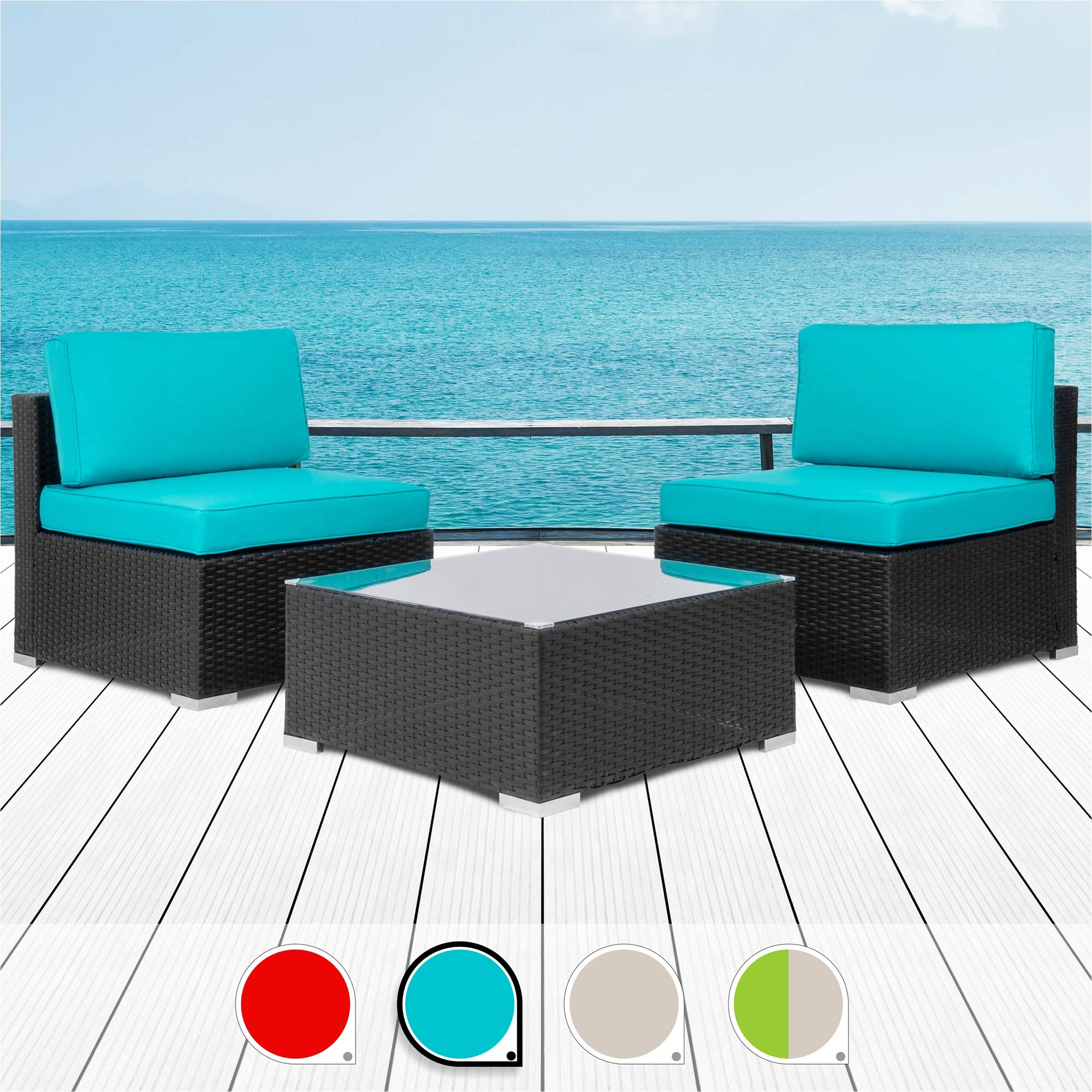 Walsunny 3 Pieces Patio Set Outdoor Wicker Patio Furniture Sets Modern Rocking Bistro Set Rattan Chair Conversation Sets with Coffee Table (Brown) (Blue) by Walsunny