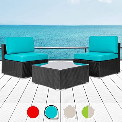 Surprising Walsunny 3Pcs Patio Outdoor Furniture Sets All Weather Rattan Sectional Sofa With Tea Tablewashable Couch Cushions Black Rattan Khaki Download Free Architecture Designs Scobabritishbridgeorg