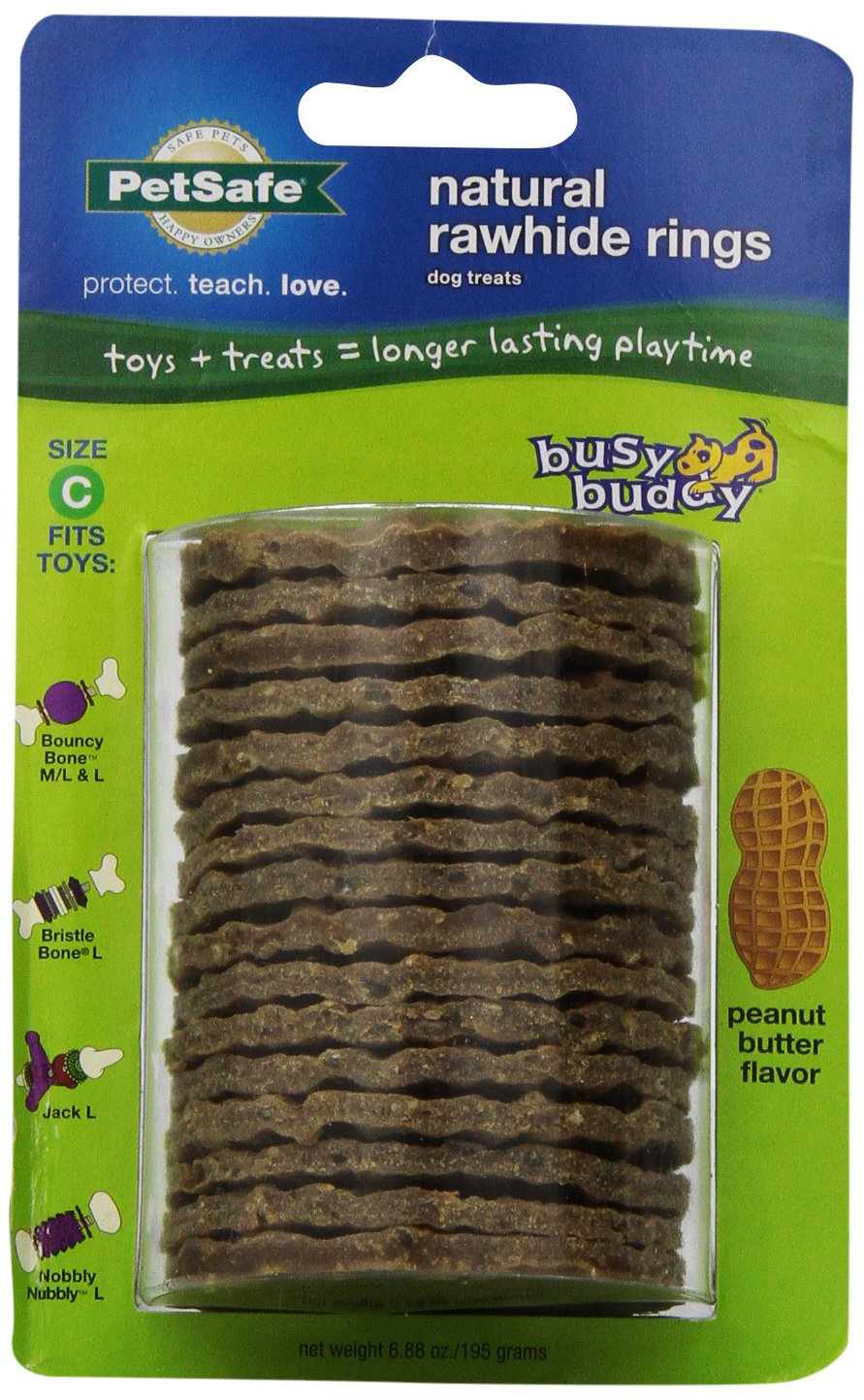 LARGE (SIZE C RINGS) PetSafe Busy Buddy Refill Ring Dog Treats for select Busy Buddy Dog Toys, Peanut Butter Flavored Natural Rawhide, Size C