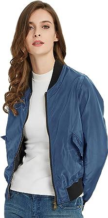 SUNDAY ROSE Women Classic Solid Bomber Jacket Lightweight Padded Windbreaker Coat