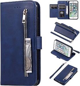 EYZUTAK Wallet Case for iPhone 6 Plus iPhone 6S Plus, 5 Card Slots Magnetic Closure Zipper Pocket Handbag PU Leather Flip Case with Wrist Strap TPU Kickstand Cover for iPhone 6 Plus/6S Plus - Blue