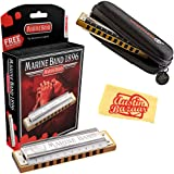 Hohner Marine Band 1896 Classic Harmonica - Key of C Bundle with Carrying Case and Austin Bazaar Polishing Cloth (Color: Key of C, Tamaño: Marine Band)