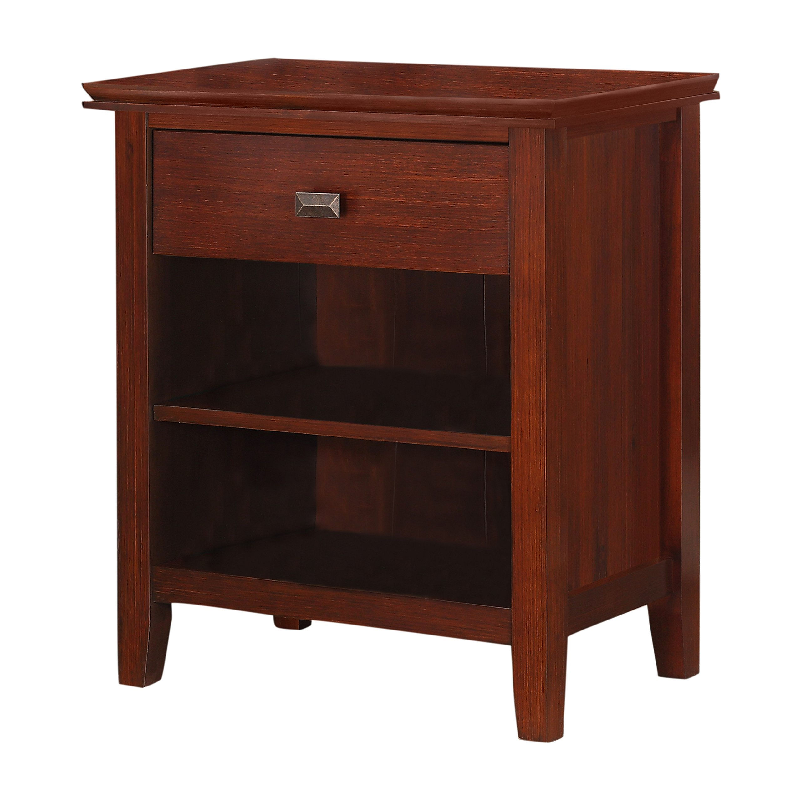 Simpli Home Artisan Bedside Table, Medium Auburn Brown, Standard