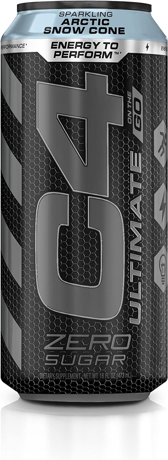C4 Ultimate Sugar Free Sparkling Energy Drink Artic Snow Cone | 16oz (Pack of 12) | Pre Workout Performance Drink with No Artificial Colors or Dyes