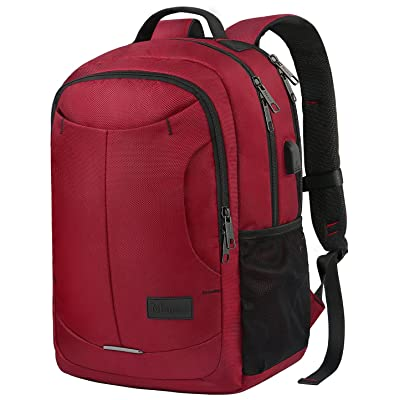 Mancro 15.6 Laptop Backpack, Durable Travel Daypack with USB Charging Port, Lightweight Casual College School Business Bag, Water Resistant Polyester Student Bookbag for Laptop 15.6 Inch, Red