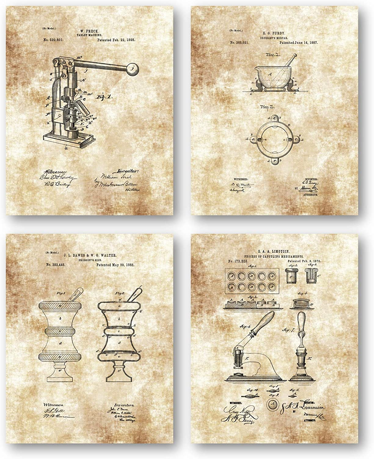 Original Pharmacist Drawings Artwork - Set of 4 8 x 10 Unframed Patent Prints - Great Gift for Pharmacology Student and Pharmaceutical Representatives - Vintage Home Office or Pharmacy Decor