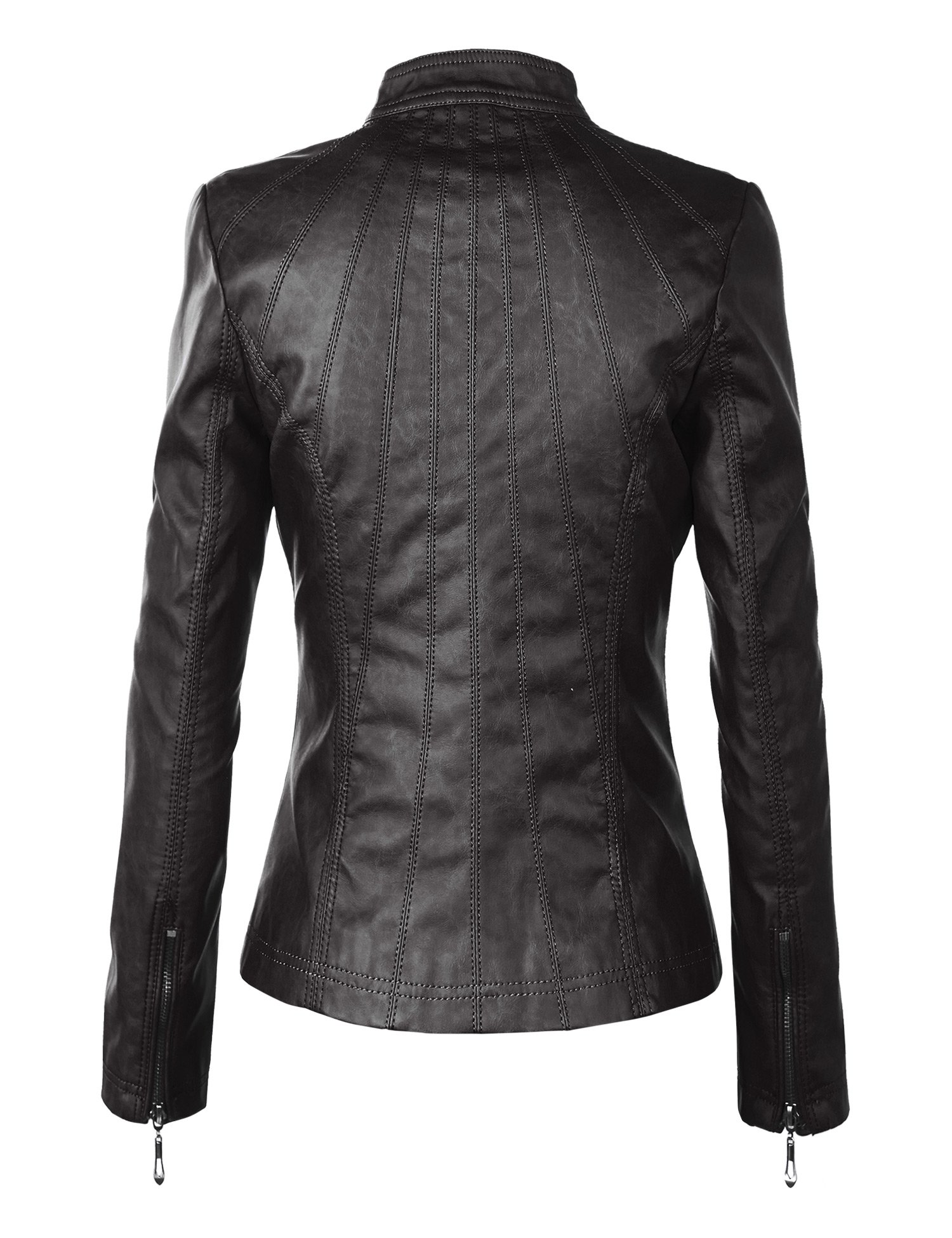 WJC877 Womens Panelled Faux Leather Moto Jacket L BLACK by Lock and Love (Image #2)