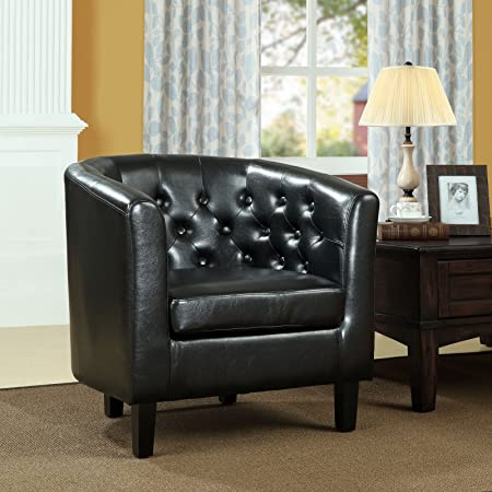 Modway Prospect Upholstered Fabric Contemporary Modern Accent Arm Chair in Black Faux Leather