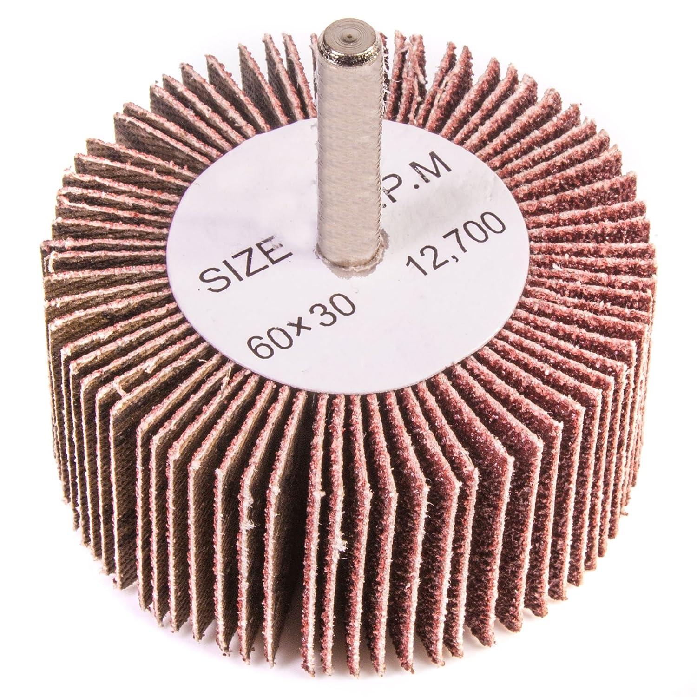 Coarse 80 Grit Flap Wheel Sanding Drill Bit - 6mm Shank - Abrasive Paint/Metal Remover White Hinge