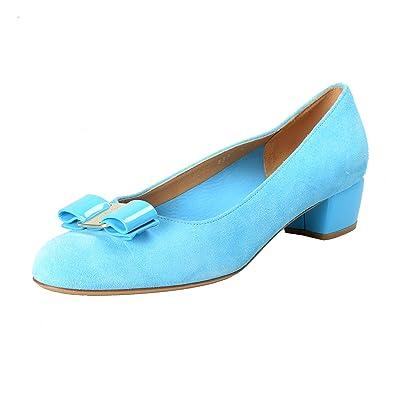55215c064fa Amazon.com  Salvatore Ferragamo Women s Vara Blue Suede Leather Pumps Shoes  US 9C IT 39C  Shoes