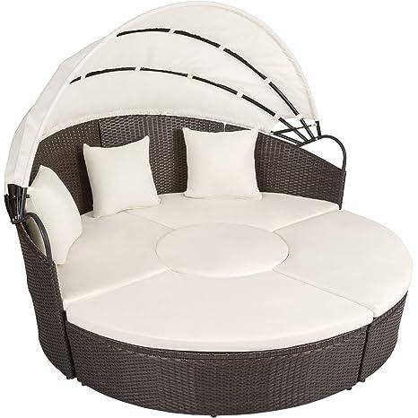 TecTake Conjunto de sillones de ALUMINIO y ratán sintético con un techo isla para tomar el sol - disponible en diferentes colores - (marrón antigüedad ...