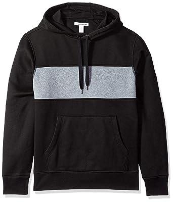 dcce46bb8 Amazon.com: Amazon Essentials Men's Hooded Fleece Chest Stripe Sweatshirt:  Clothing