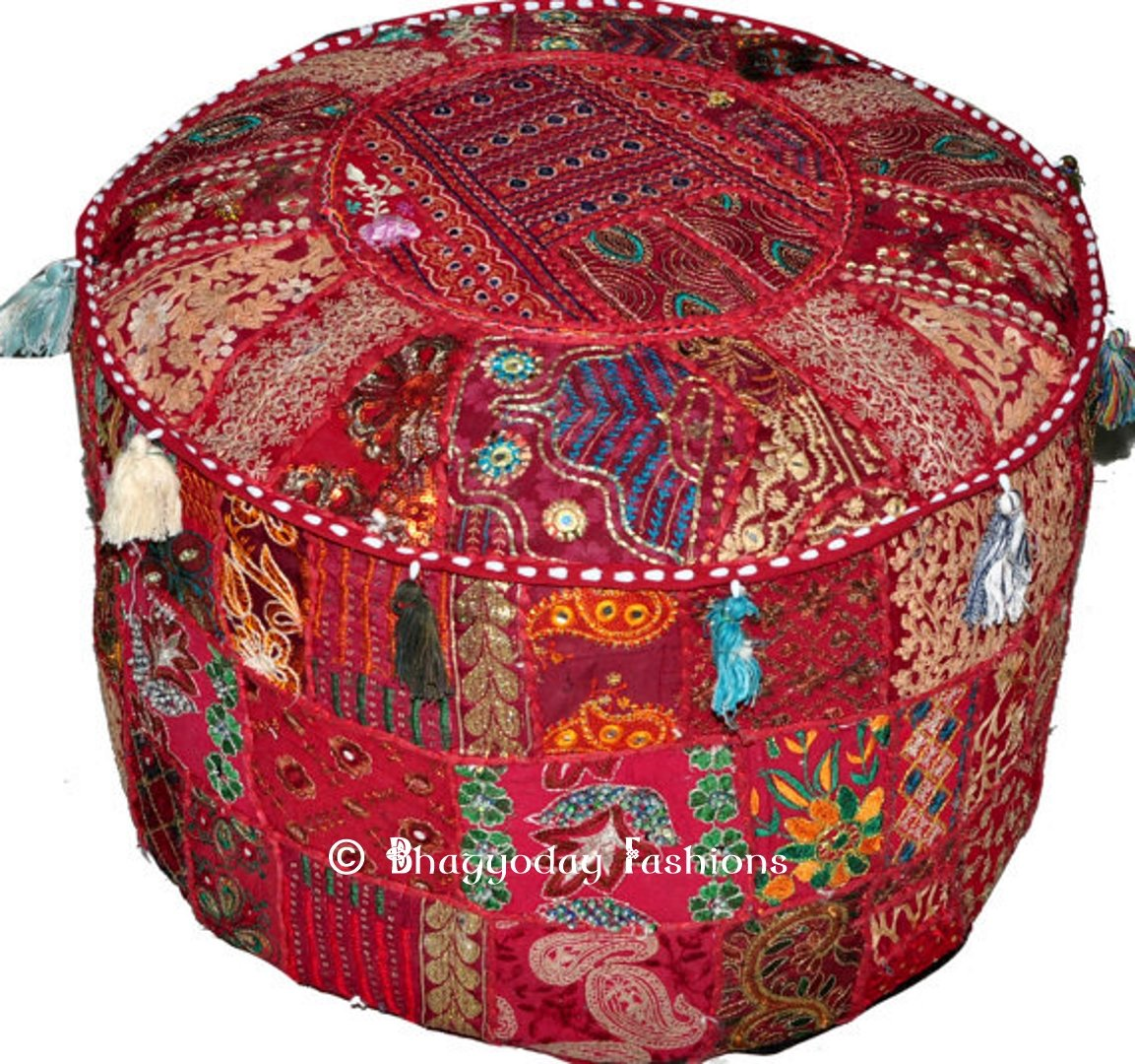 Indian Round Patch Work Embroidered Ottoman Pouf, Indian Round Ottoman Stool Pouf Pillow Patterned Cocktail Vintage Hassock Pouffe, Cotton Handmade Ottoman Pouf, 18x13 Inch. By Bhagyoday by BhagyodayFashions Bhagyoday Fashions