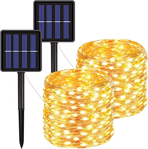 FOAMICHI 2 Pack Solar Lights Outdoor, Waterproof 200LED Solar Lights String 8 Modes Solar Fairy Lights for Lawn, Patio, Yard, Garden, Yard, Christmas Decor Warm White