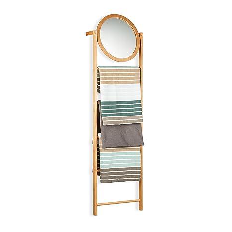 Relaxdays Toallero Escalera con Espejo y 4 Barras, Bambú, Beige, 160 x 45