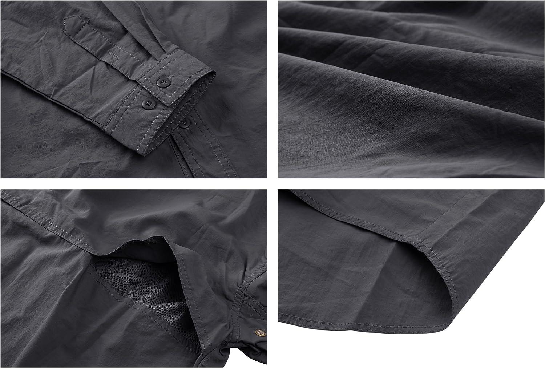 MAGCOMSEN Herren Tactical Hemd Schnelltrocknend Funktionshemd Outdoor Langarm Hemd Atmungsaktiv Hemd f/ür M/änner Milit/är Armee Hemd UV-Schutz Hemd mit Taschen