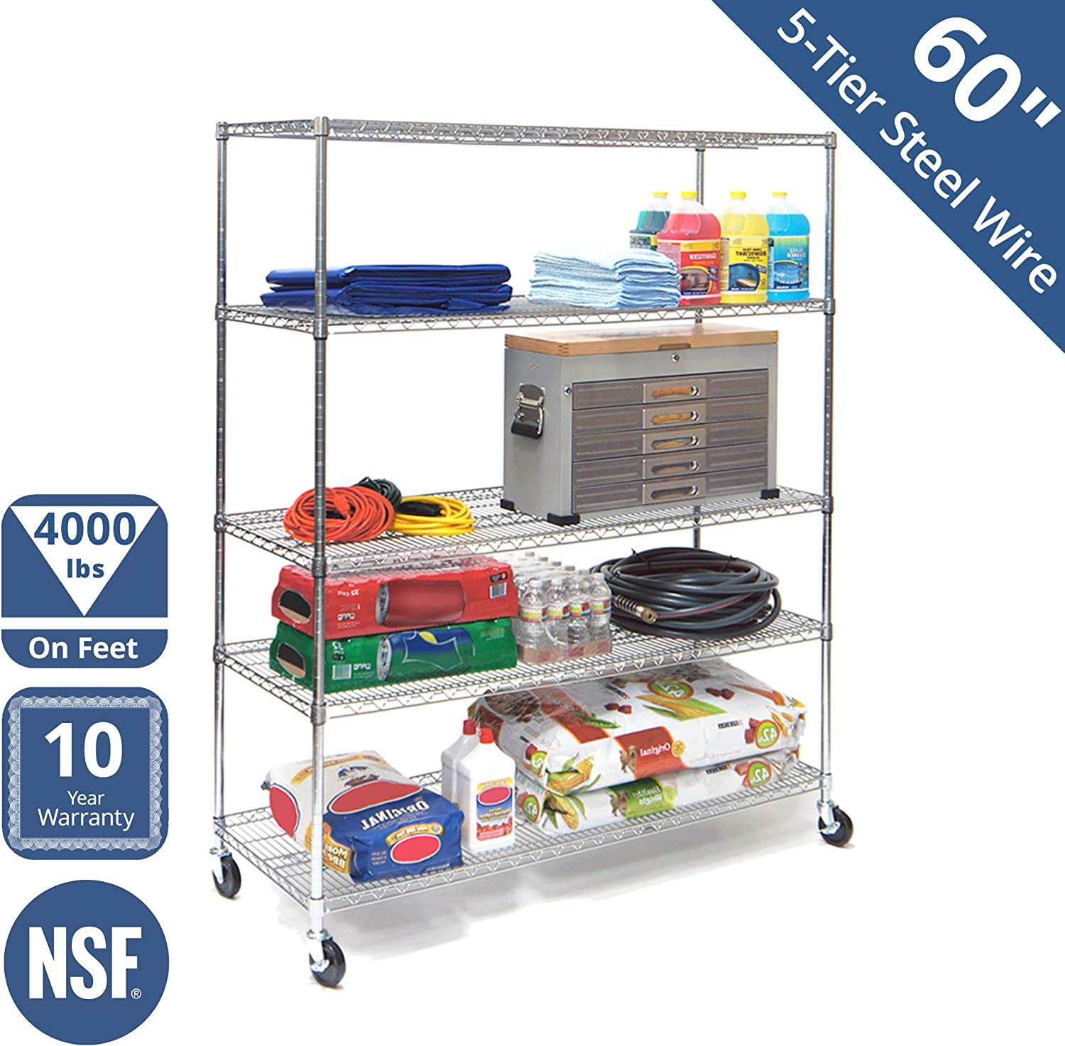 "Seville Classics MEGA Rack UltraDurable Commercial-Grade 5-Tier NSF-Certified Steel Wire Shelving with Wheels, 60"" W x 24"" D, Chrome"