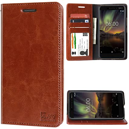 new product ae028 6dec3 DMG Leather Wallet Flip Cover Stand Case for Nokia 6.1 (2018) (Latchless ID  Brown)