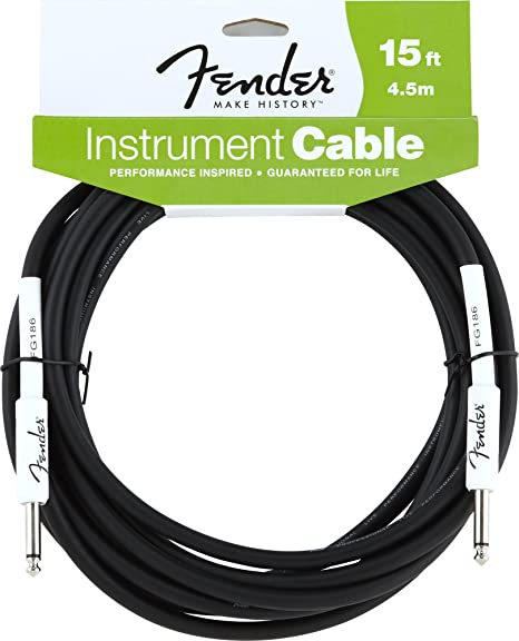 Fender Professional Series Instrument Cable,Straight-Angle,10ft Black