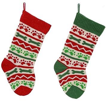 family dog paw and bone acrylic knit christmas holiday stockings set of 2 - Dog Stockings For Christmas