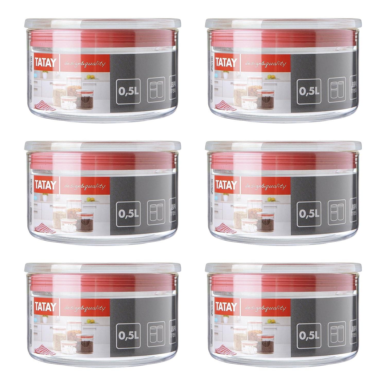 PracticFood Lote de 6 Botes de Cocina Herméticos, Transparentes y Apilables. Plástico Alimentario de Alta Calidad: Polietileno Libre de BPA. Tapa Roja, Capacidad 0.5L