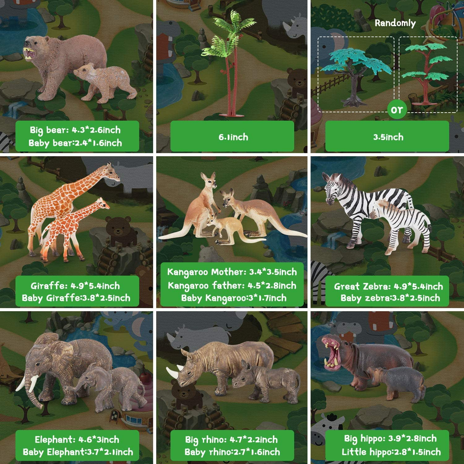 Realistic Jungle Animal Figurines Mom/&Baby Animal Set,Educational and Child Development Toy for Kids Toy Animals for Toddlers Zoo Animals Figures Playset with Activity Play Mat /& Trees Boys /& Girls
