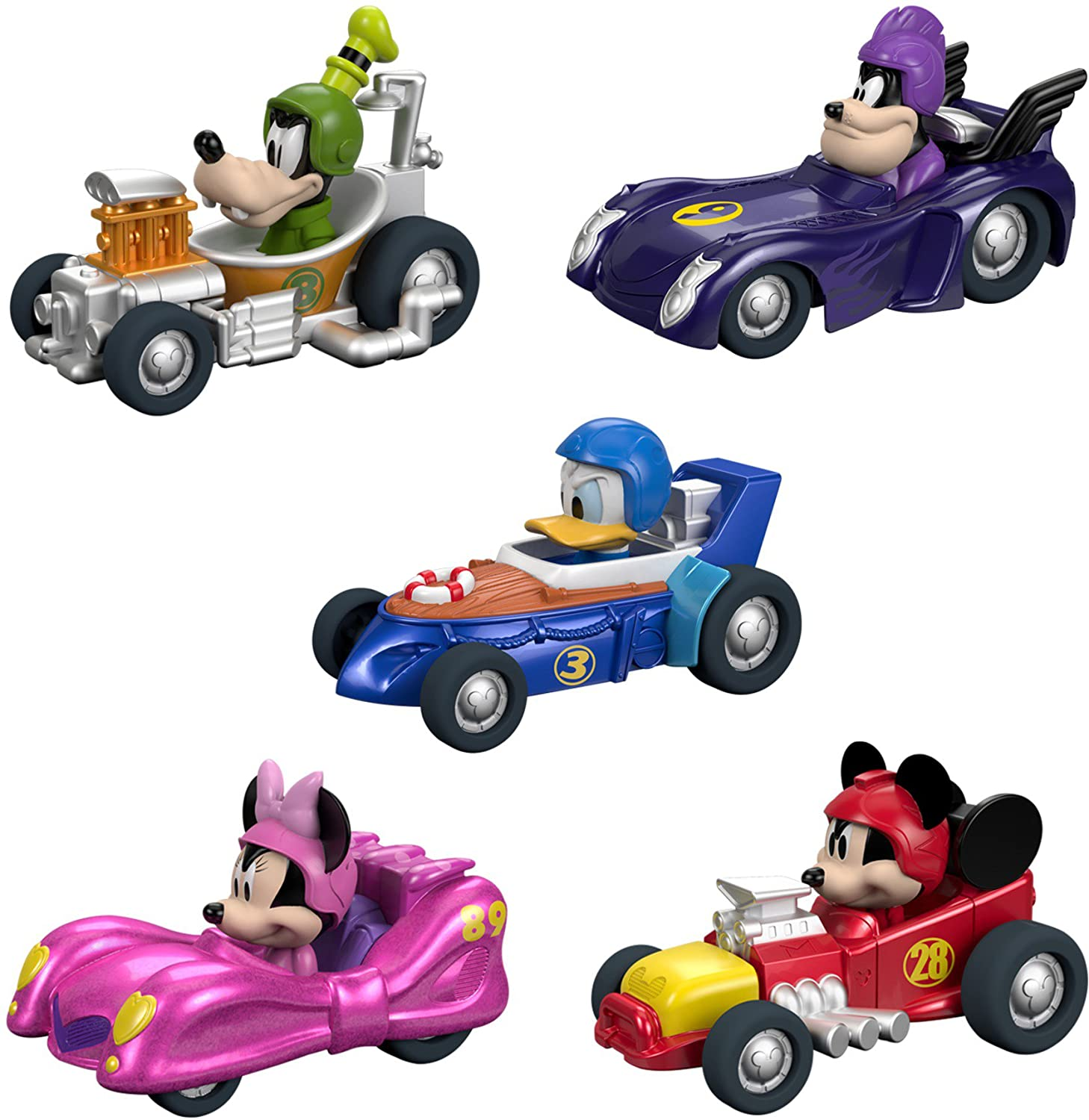 Fisher Price Disney Mickey the Roadster Racers Hot Rod Vehicles 5 Pack