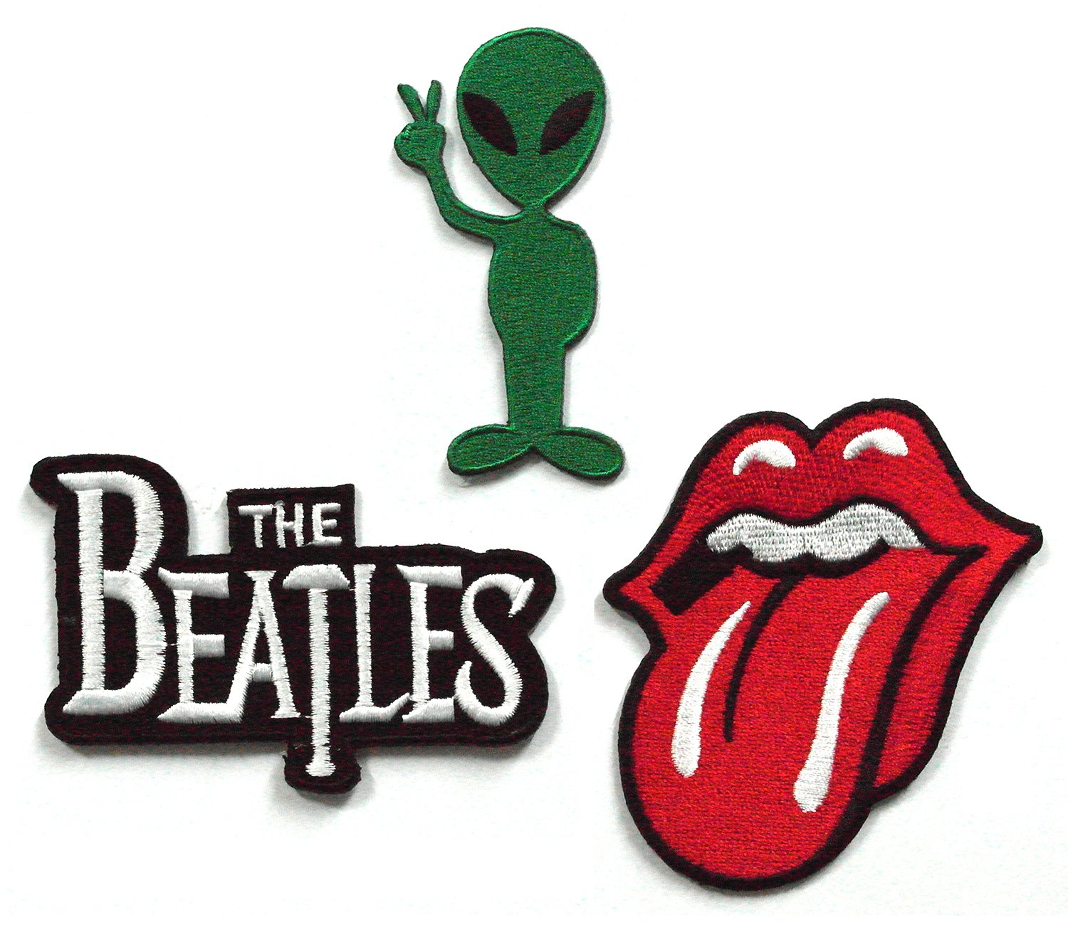 Set_ROCK006 - Alien Patch Iron On, The Beatles Band Patches and Rolling Stone Tongue Patches, 3 Pcs Heavy Metal Patches, Applique Embroidered Patches - Rock Band Iron on Patches