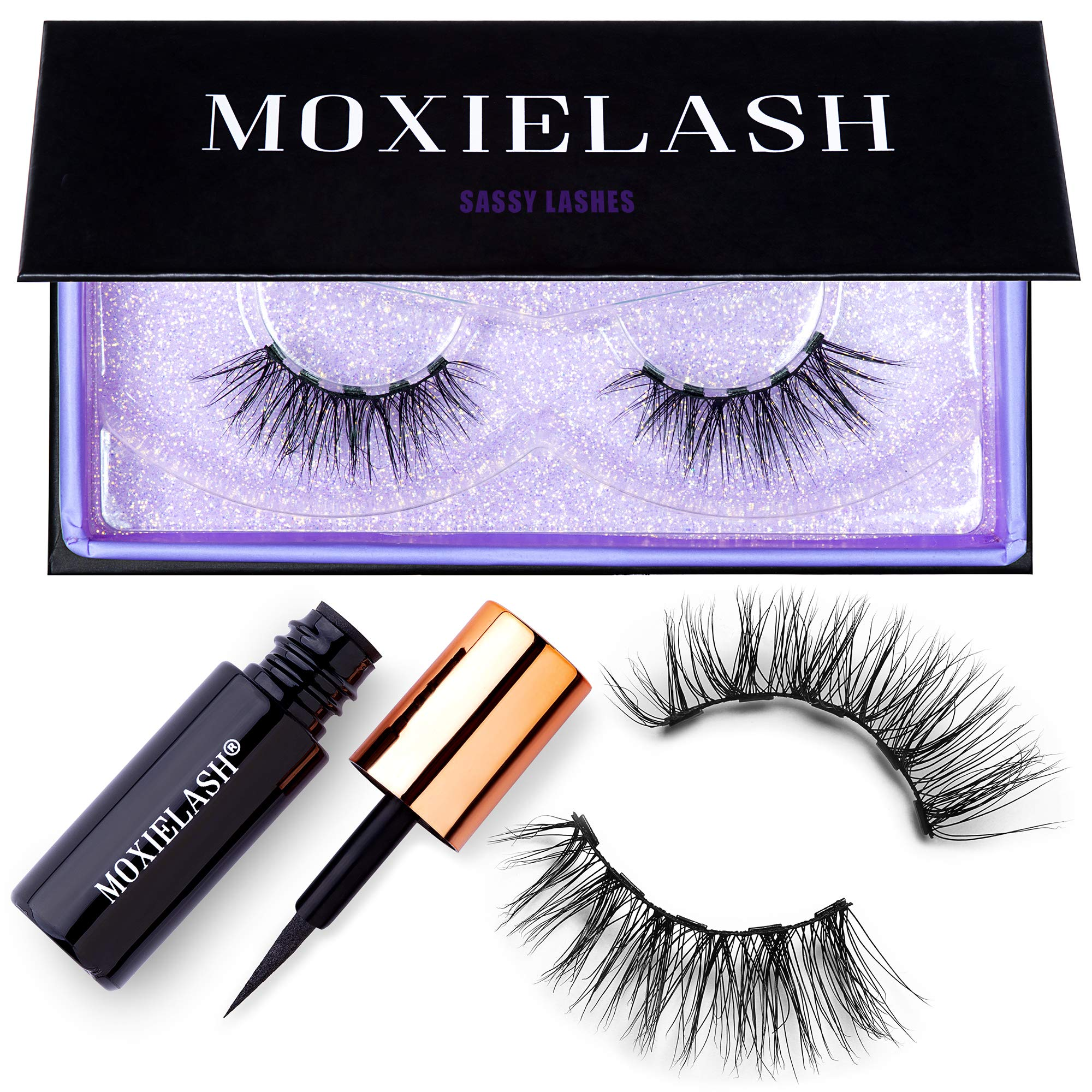 MoxieLash Sassy Kit - Mini Liquid Magnetic Eyeliner for Magnetic Eyelashes - No Glue & Mess Free - Fast & Easy Application - Set of Classy Lashes & Instruction Card Included by MoxieLash