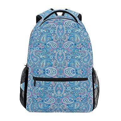 41beb5827ecf Amazon.com | Backpack Travel Paisley Blue Art School Bookbags ...